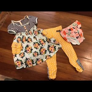 MJ 18-24m dress/bloomers and size 2 leggings VGUC